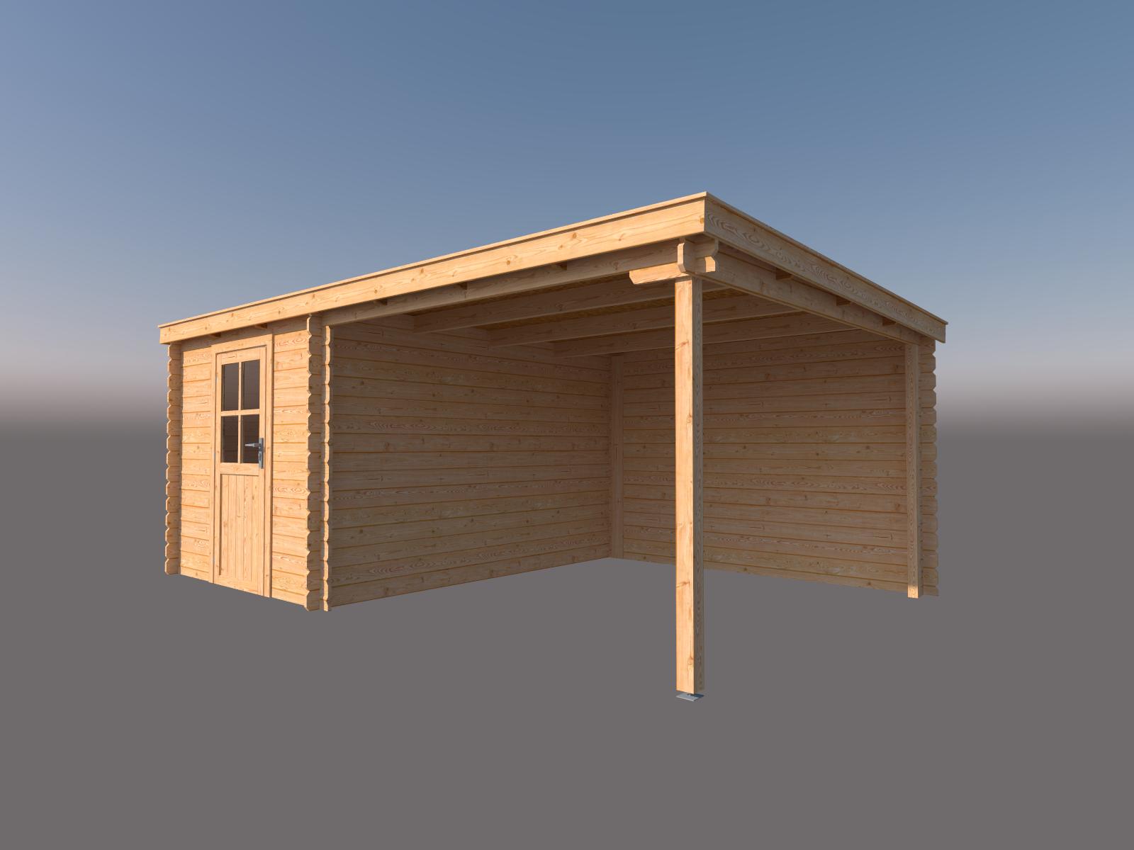 DWF Blokhut met overkapping lessenaar dak 250 x 350 +300cm