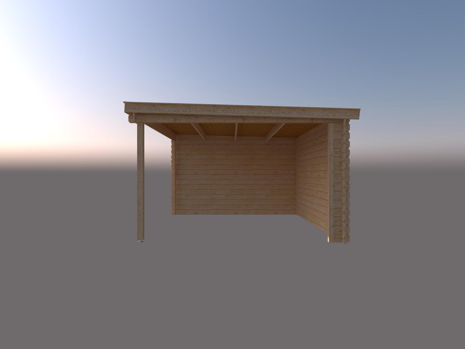 DWF Blokhut met overkapping lessenaar dak 250 x 350 +350cm