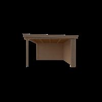 DWF Blokhut met overkapping lessenaar dak 250 x 350 +400cm