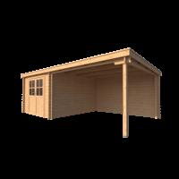 DWF Blokhut met overkapping lessenaar dak 300 x 350 +350cm