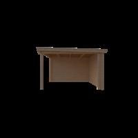 DWF Blokhut met overkapping lessenaar dak 300 x 350 +300cm