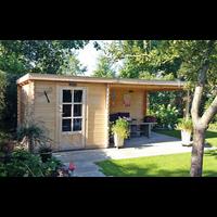 DWF Blokhut met overkapping lessenaar dak 300 x 350 +250cm