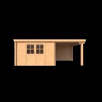 DWF Blokhut met overkapping lessenaar dak 350 x 350 +250cm