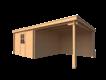 DWF Blokhut met overkapping lessenaar dak 350 x 350 +300cm