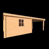 DWF Blokhut met overkapping lessenaar dak 350 x 350 +350cm