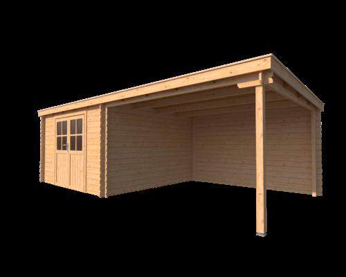 DWF Blokhut met overkapping lessenaar dak 350 x 350 + 350cm