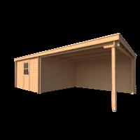 DWF Blokhut met overkapping lessenaar dak 350 x 350 +400cm