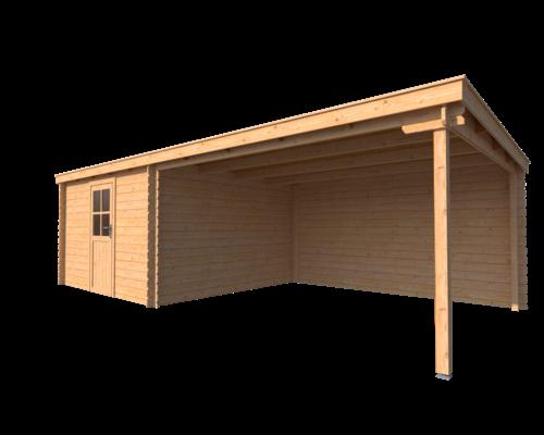 DWF Blokhut met overkapping lessenaar dak 350 x 350 + 400cm
