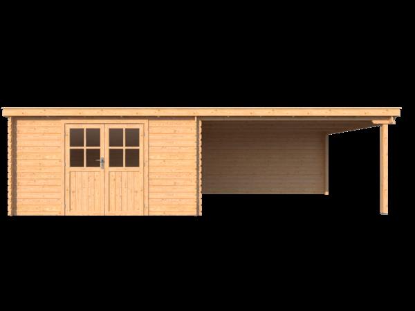DWF Blokhut met overkapping lessenaar dak 400 x 350 +400cm