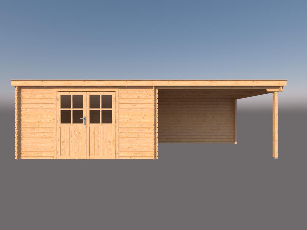 DWF Blokhut met overkapping lessenaar dak 400 x 350 +350cm