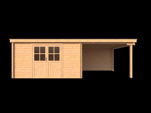 DWF Blokhut met overkapping lessenaar dak 400 x 350 +300cm