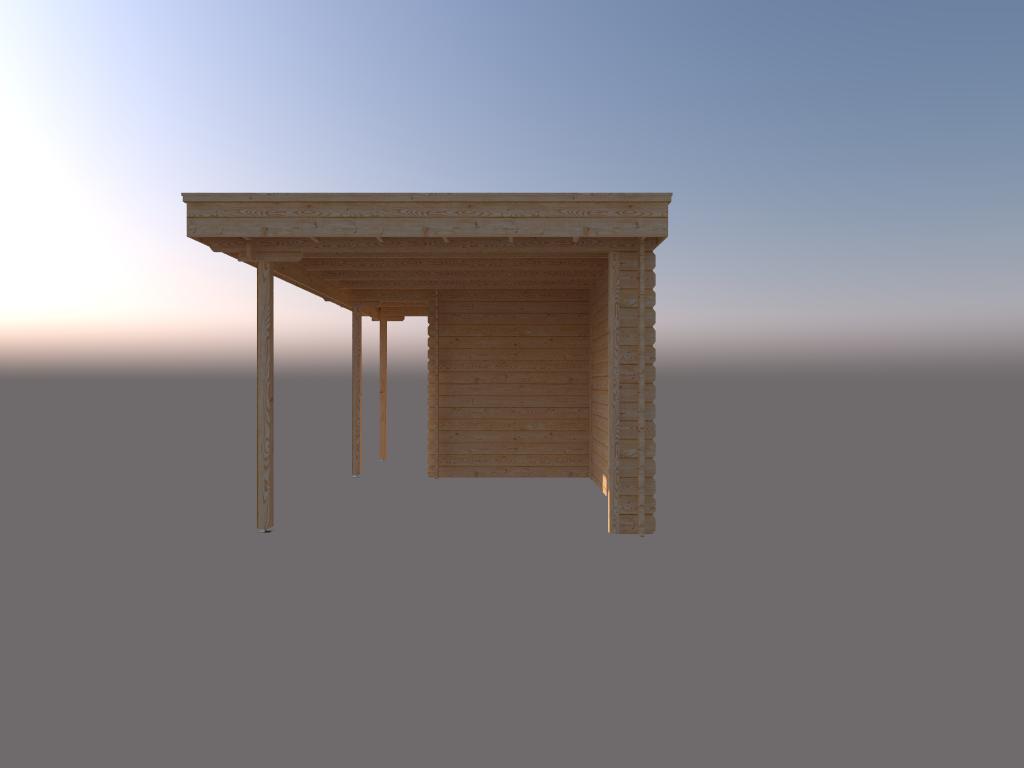 DWF Blokhut met overkapping plat dak 200 x 200 + 100 / 300 x 300cm