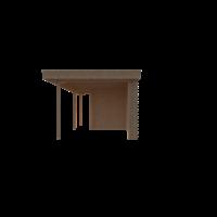 DWF Blokhut met overkapping plat dak 200 x 200 + 100 / 250 x 300cm