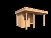DWF Blokhut met overkapping plat dak 150 x 200 + 100 / 250 x 300cm