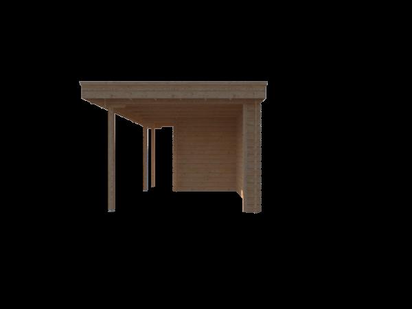 DWF Blokhut met overkapping plat dak 150 x 200 + 100 / 300 x 300cm
