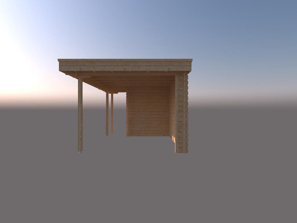 DWF Blokhut met overkapping plat dak 150 x 200 + 100 / 350 x 300cm