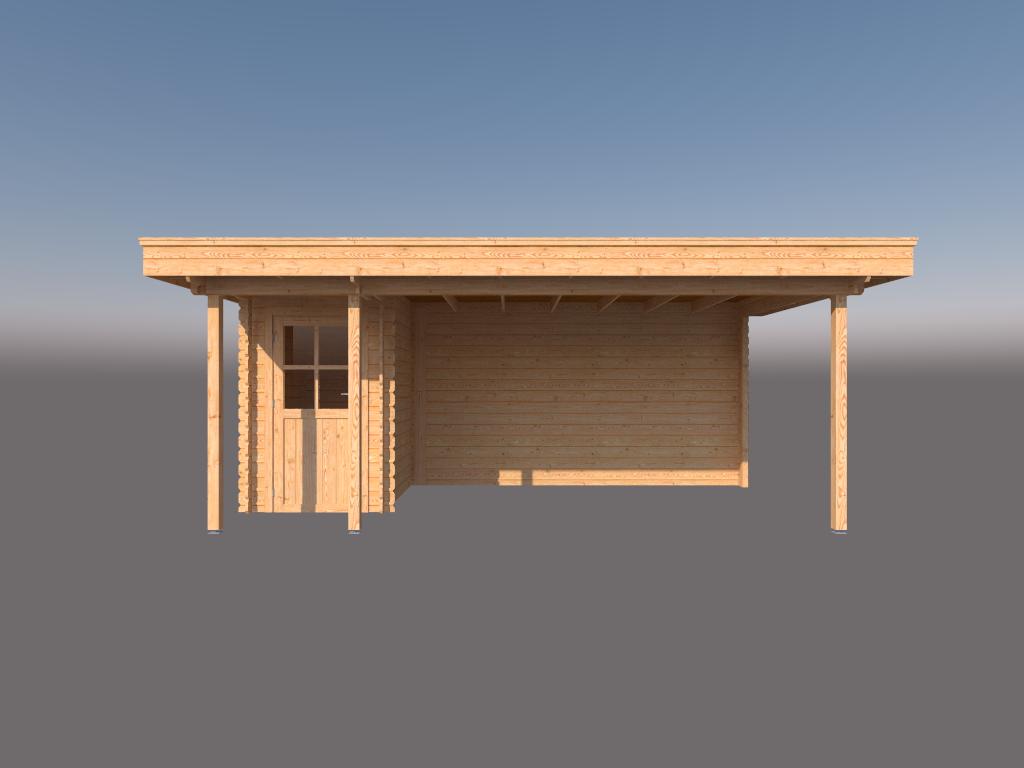 DWF Blokhut met overkapping plat dak 150 x 200 + 100 / 400 x 300cm