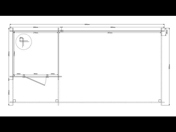 DWF Blokhut met overkapping plat dak 200 x 200 + 100 / 400 x 300cm