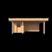DWF Blokhut met overkapping plat dak 200 x 200 + 100 / 350 x 300cm