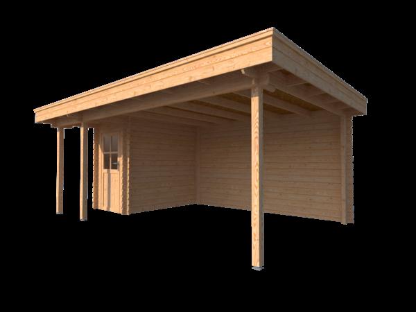DWF Blokhut met overkapping plat dak 150 x 250 + 100 / 400 x 350cm