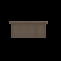DWF Blokhut met overkapping plat dak 150 x 250 + 100 / 350 x 350cm