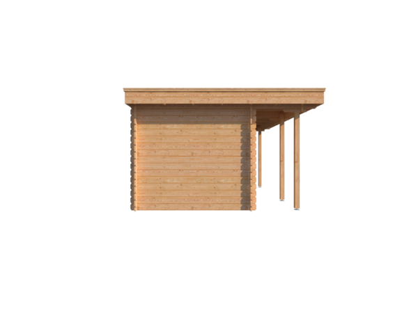 DWF Blokhut met overkapping plat dak 150 x 250 + 100 / 300 x 350cm