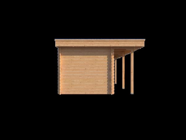 DWF Blokhut met overkapping plat dak 200 x 250 + 100 / 250 x 350cm