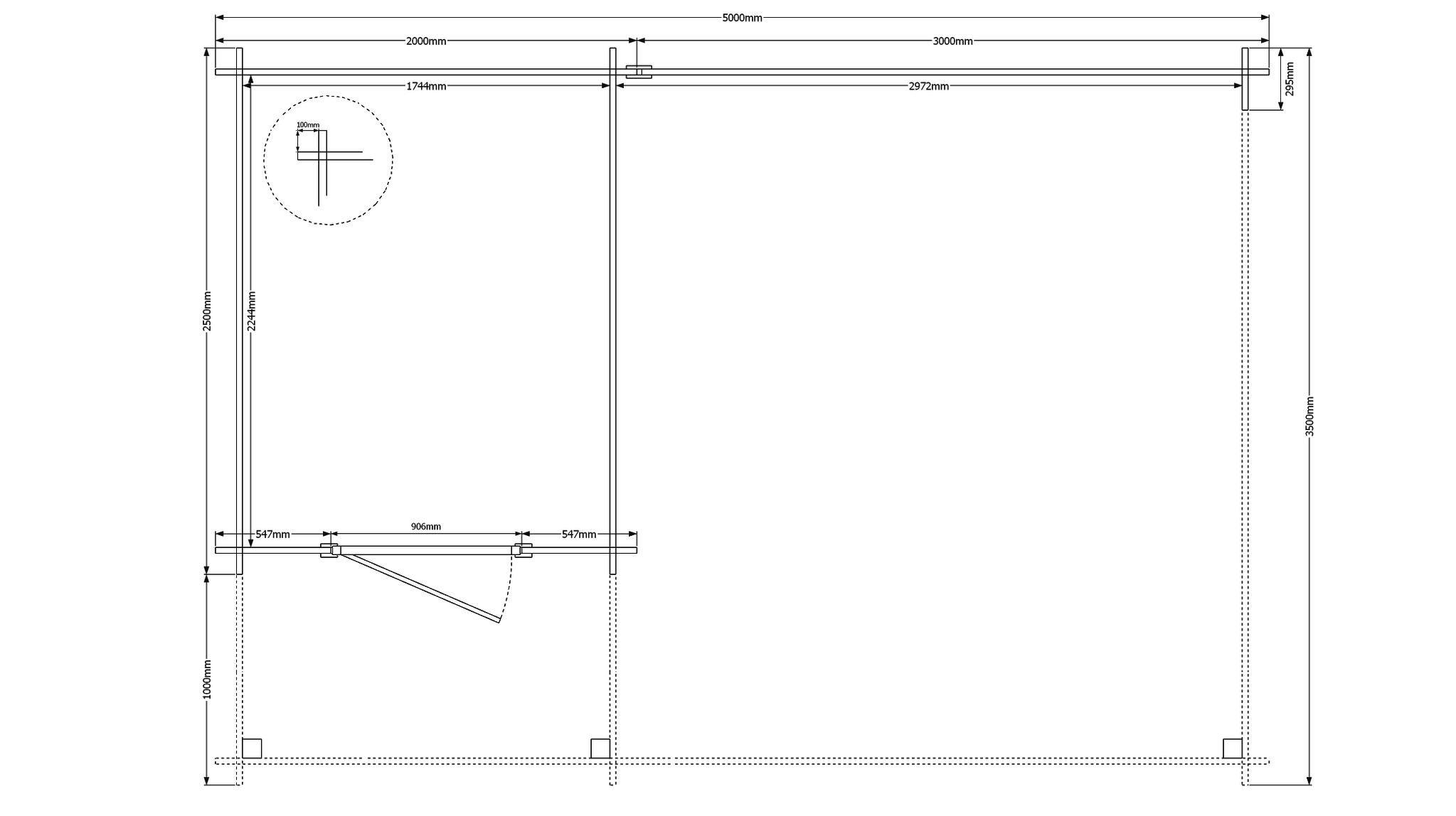DWF Blokhut met overkapping plat dak 200 x 250 + 100 / 300 x 350cm