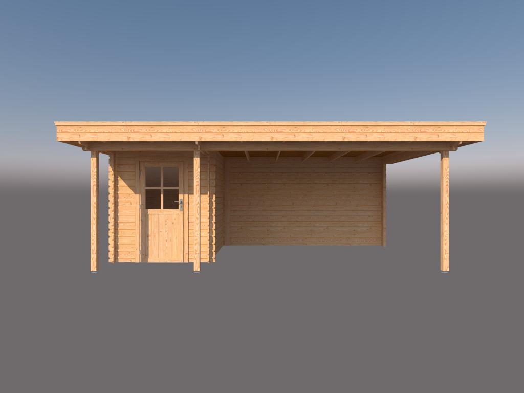 DWF Blokhut met overkapping plat dak 200 x 250 + 100 / 350 x 350cm