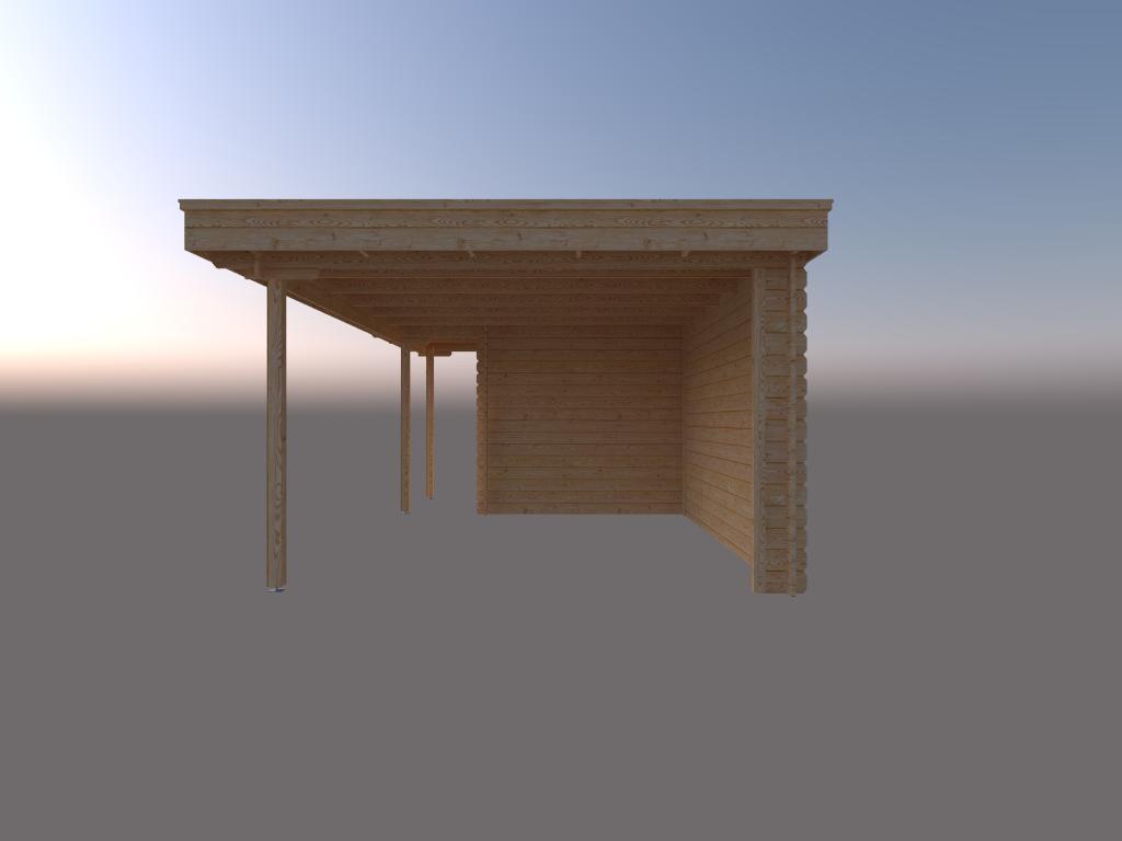 DWF Blokhut met overkapping plat dak 200 x 250 + 100 / 400 x 350cm