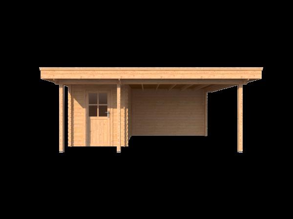 DWF Blokhut met overkapping plat dak 200 x 300 + 100 / 350 x 400cm