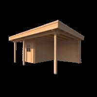 DWF Blokhut met overkapping plat dak 200 x 300 + 100 / 300 x 400cm