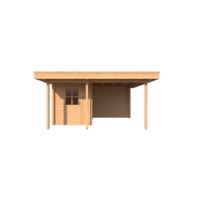 DWF Blokhut met overkapping plat dak 200 x 300 + 100 / 250 x 400cm