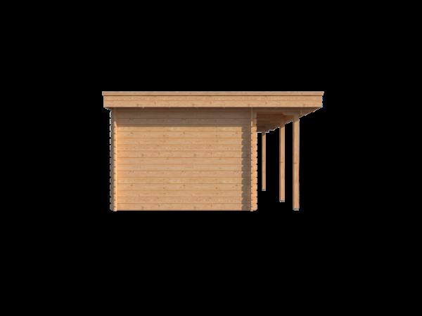 DWF Blokhut met overkapping plat dak 150 x 300 + 100 / 250 x 400cm