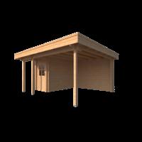 DWF Blokhut met overkapping plat dak 150 x 300 + 100 / 300 x 400cm