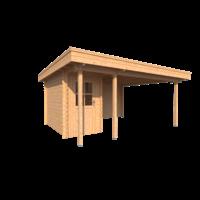 DWF Blokhut met overkapping plat dak 150 x 300 + 100 / 350 x 400cm