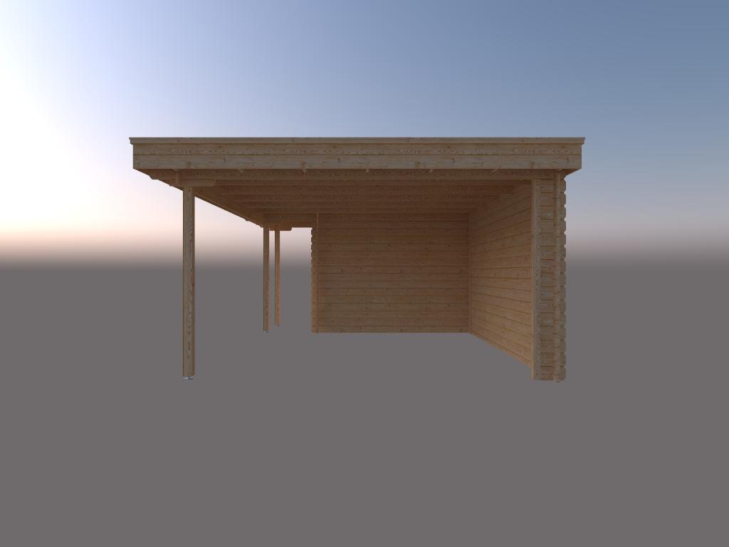 DWF Blokhut met overkapping plat dak 150 x 300 + 100 / 400 x 400cm