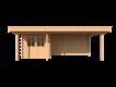 DWF Blokhut met overkapping plat dak 250 x 200 + 100 / 400 x 300cm