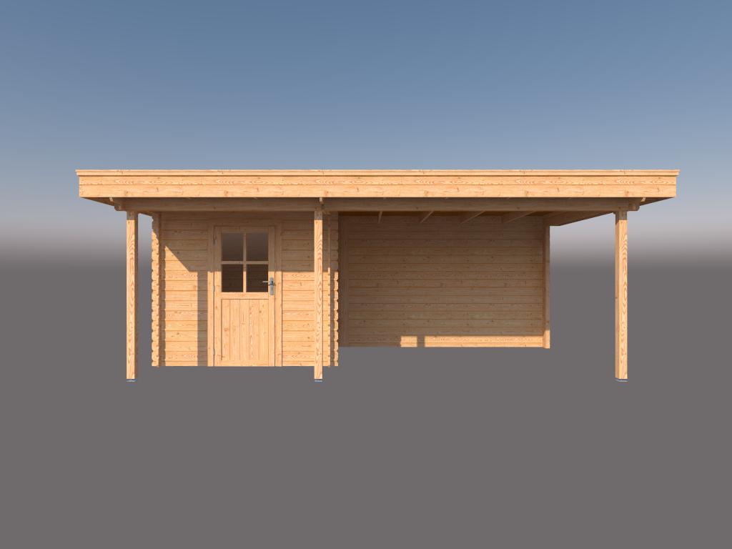 DWF Blokhut met overkapping plat dak 250 x 200 + 100 / 350 x 300cm