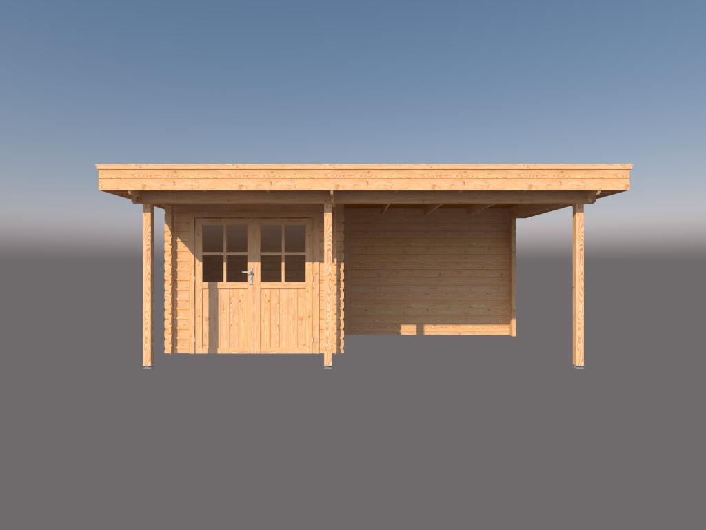 DWF Blokhut met overkapping plat dak 250 x 200 + 100 / 300 x 300cm