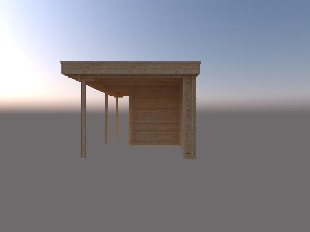 DWF Blokhut met overkapping plat dak 250 x 200 + 100 / 250 x 300cm