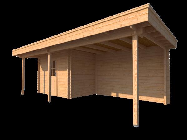 DWF Blokhut met overkapping plat dak 300 x 200 + 100 / 350 x 300cm
