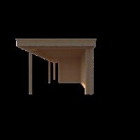 DWF Blokhut met overkapping plat dak 300 x 200 + 100 / 400 x 300cm