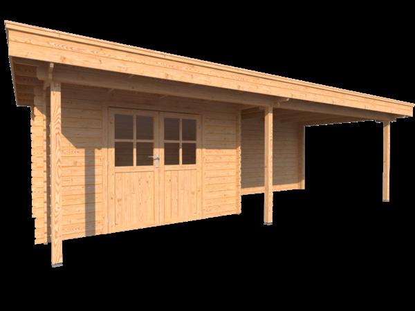 DWF Blokhut met overkapping plat dak 350 x 200 + 100 / 400 x 300cm