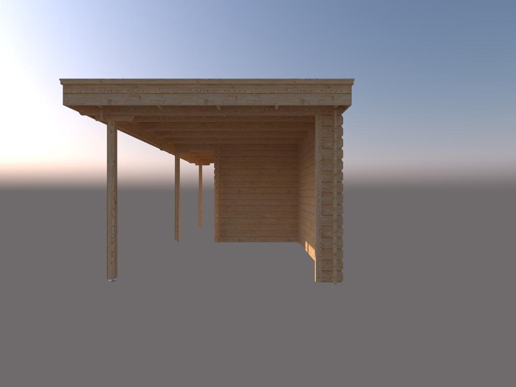 DWF Blokhut met overkapping plat dak 350 x 200 + 100 / 350 x 300cm