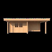 DWF Blokhut met overkapping plat dak 350 x 200 + 100 / 300 x 300cm