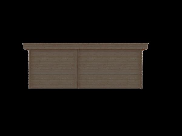 DWF Blokhut met overkapping plat dak 350 x 200 + 100 / 250 x 300cm