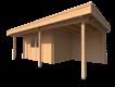 DWF Blokhut met overkapping plat dak 400 x 200 + 100 / 250 x 300cm
