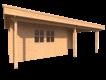 DWF Blokhut met overkapping plat dak 400 x 200 + 100 / 300 x 300cm