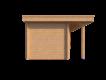 DWF Blokhut met overkapping plat dak 400 x 200 + 100 / 350 x 300cm